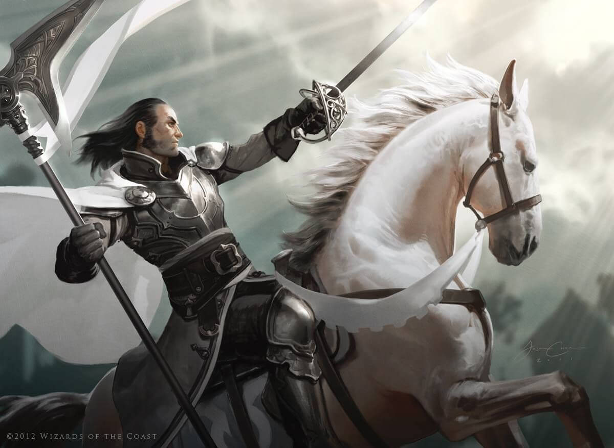 5e Paladin in gleaming silver armor riding a white horse