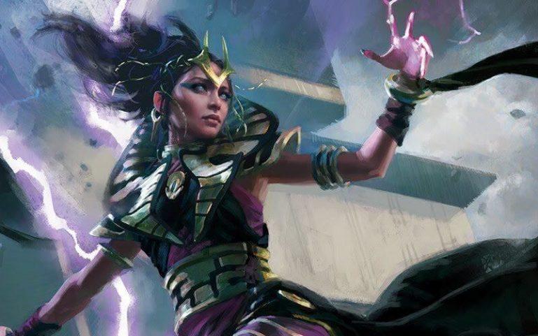 5e Warlock in a flowing black robe conjuring purple energy