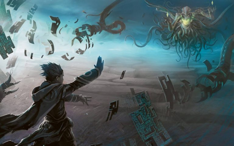 5e Wizard fighting an giant floating monster with tentacles