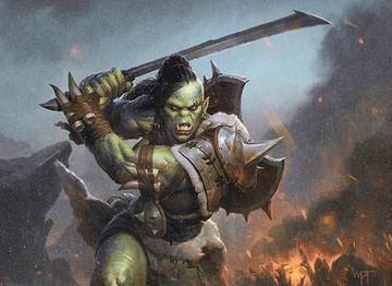 half-orc raising a greatsword