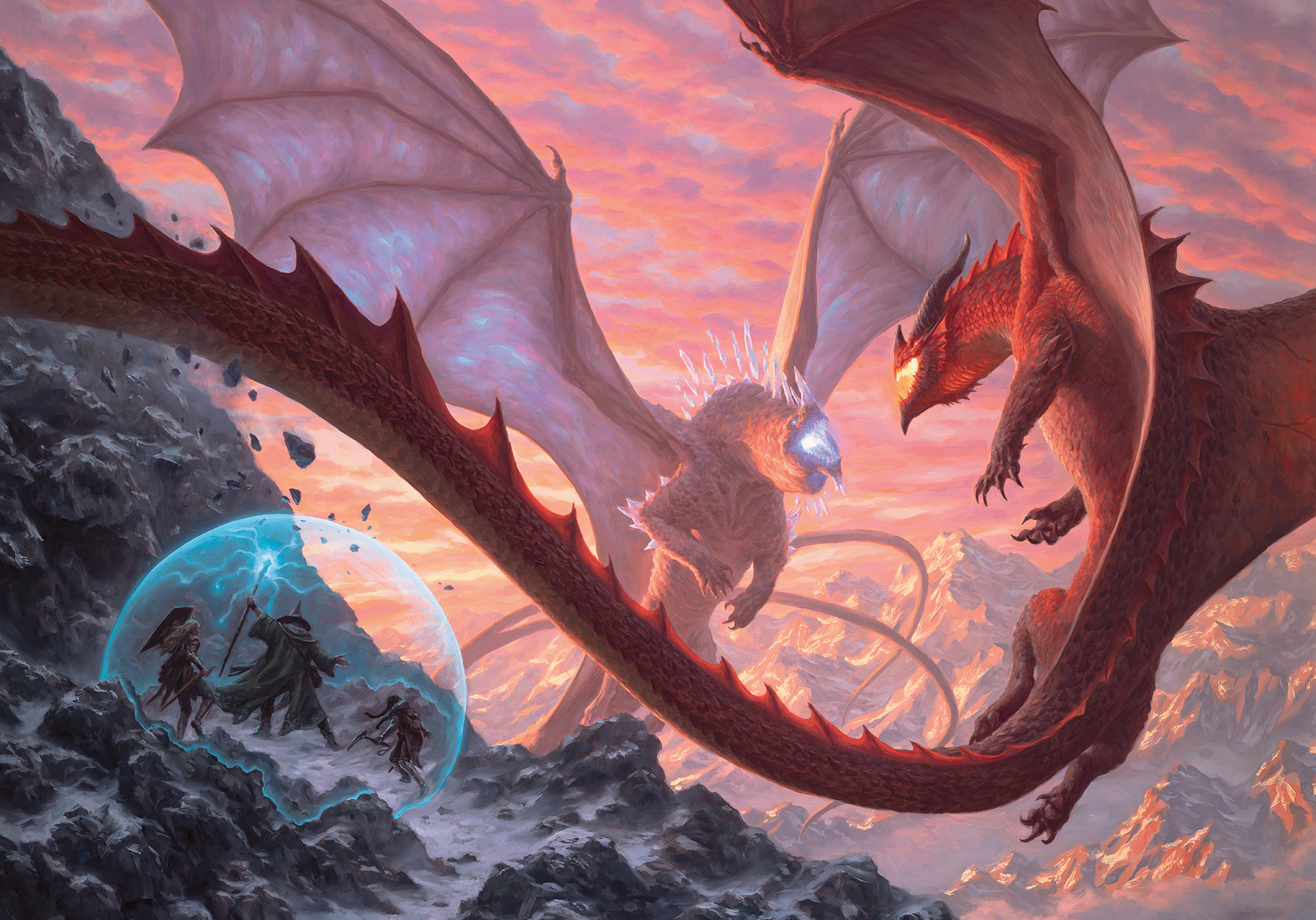 Fizban the Fabulous protects a group of innocents as a crystal dragon and a red dragon clash in the sky.